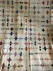 Vintage Hand Sewn Quilt 78x78 Colorful Farm House Primitive Barn Full Queen Old