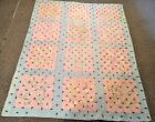 Antique/Vtg Blue/Pink Square Patchwork Quilt Patch Throw Blanket Queen Sz STAINS