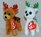 New! Holiday Set of 2 Ty Beanie Babies PEPPERMINT & TINSEL Key Clip Size