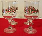 Vintage Footed Wine Glasses / Goblets Christmas Holly Theme Gold Trim Set of 4