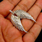 14k Yellow Gold Over Open Angel Wings Round Cut Diamond Pendant 100 Ct