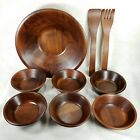 Vintage Vermillion Real Walnut Wood Bowls Fork Spoon 9 PC Made USA - Free Ship