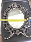 Cast Iron Pewter Finish Victorian Style Stand Up Mirror Or Hung On Wall-Awesome