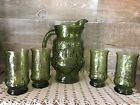 Anchor Hocking Rain Flower Green Glass Pitcher and Tumblers Vintage