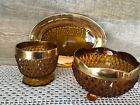 Vintage Amber Glass Hobnail Diamond Cut Dishes with Tray Set of Three