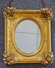 Antique Gold Gilt Ornate Spandrel Oval Wood Frame w Fruit on Corners Old Mirror