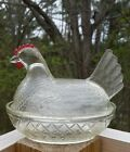 VINTAGE INDIANA GLASS COVERED HEN RED COMB NESTING CHICKEN CLEAR DISH EUC