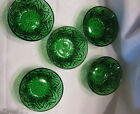 Lot Of 5 Emerald Forest Green Glass Serving Bowls Wheat Design