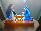 Vintage Leaded STAINED GLASS Christmas Nativity LARGE