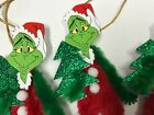 Chenille Christmas ornaments, vintage GRINCH feather tree ornaments, tags