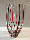 Art Glass Clear Vase Black and Red Stripe 875