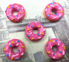 DIY 5 25 50 100PCS Pink Doughnut Flatback Resin Cabochon Scrapbooking Crafts