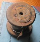 Vintage Hardware Store Wooden spool of metal wire w/tag AS IS Primitive display