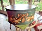 Large Oval Tin Toleware Trunk/Box/ Chest with Lid Tole Painted 24
