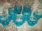 HTF RARE 8 Vintage Bright Turquoise Blue Georgian Pattern Tumbler and Sherbets