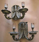 VINTAGE PAIR SPANISH REVIVAL IRON WALL MOUNT SCONCES 1930'S