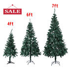 Green 4 6 7 Artificial Christmas Tree W Solid Stand Holiday Indoor Outdoor