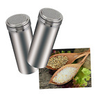 Stainless Steel Dredge Salt Pepper Shaker Set Kitchen Cheese Sugar Large Spice