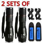 2 SETs Zoomable LED Focus 5modes 15000LM Flashlight 18650 battery+Charger+Clip