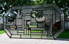 Contemporary Stained Glass Window Panel With Bevels and Jewels