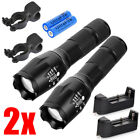 2 PCS Ultrafire 15000LM Zoom Flashlight Torch Rechargeable Battery+Charger