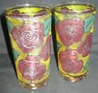 Set of 2 Vintage STAINED GLASS TUMBLERS roses floral red green yellow
