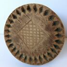 Unique ANTIQUE Wood Carved BUTTER STAMP/Print w/Handle-Sq. Waffle/Diamonds
