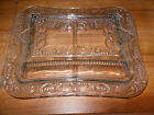 ~Vintage Clear Glass Divided Serving Dish w/Lid - NICE!! ~