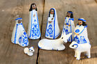 Vintage Small White Blue Nativity Figures very cute adorable AS IS lovely Creche