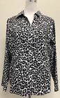 Chicos Brown and White Animal Print Button Down Blouse Size 2 Medium 12 M