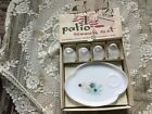 Vintage Federal Glass Patio Snack Set Atomic Flowers 8pc Cups and Plates