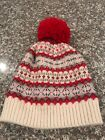 Gap Kids Girls Pom Fair Isle Beanie Hat Size L/Xl