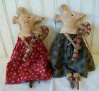 Primitive Grungy Two Small Mouse Sisters  Candy Canes Christmas Mice Doll Set