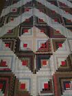 EARLY ANTIQUE LOG CABIN QUILT c. 1890s/1900 ~ Red Squares Indigo Double Pinks