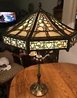 Antique Slag Glass Lamp in the style of Riviere with Overlay Filigree