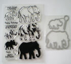 Mother and Baby Elephant rubber clear stamps + Cutting Dies Happy Birthday