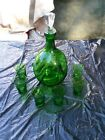 KASTRUP-HOLMEGAARD type - Pinched sides Decanter and six glasses 12 1/2