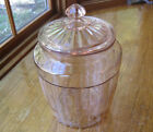 Vintage 1940's Anchor Hocking Pink Depression Pillar Optic Cookie/ Biscuit Jar