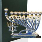 Hand Painted Blue Enamel Menorah Candelabra with Star of David by Matashi