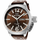 TW Steel CE1010 Men's Canteen 50mm Stainless Steel Brown Dial Leather Watch