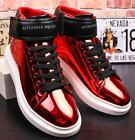 Men Flat Casual Shoes Sneakers Sports High Top Shiny Leather Lace Up Hidden Heel