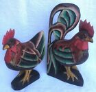 Rooster Chicken Figurines Hand Painted Wood Superb Carved Vintage Two Piece Set
