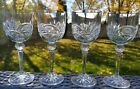 VINTAGE BOHEMIAN CUT CRYSTAL NEEDLE ETCHED GLASSES 65 Tall set of 4