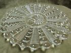 Circa 1950's Large Glass Platter Plate Sandwich Tray Ribbed Design Fruit Center