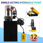 Single Acting Hydraulic Pump 12 Quart 12V DC Dump Trailer Metal Reservoir