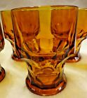 Set of 6 Georgian Dark Amber Glass 8oz Flat Tumblers Honeycomb Vintage Viking