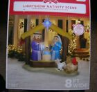 New Christmas Gemmy 8FT Lighted Light Show Nativity Scene Airblown Inflatable