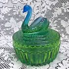 Vintage Jeannette Glass Blue/Green Swan Powder Box and Lipstick Holder