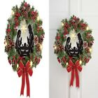 Lighted Nativity Scene Christmas Wreath Seasonal Decorations for Front Door