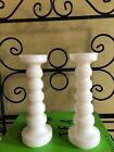 Mid Century Mod White Milk Glass Tall Candle Sticks Anchor Hocking set of Two